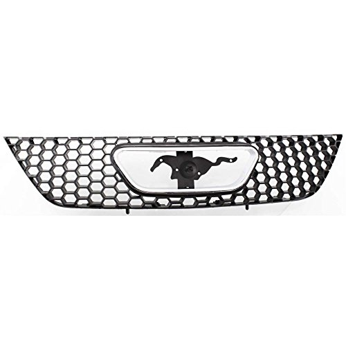 Grille for Ford Mustang 99-04 Textured Black W/Chrome Emblem Opening Molding