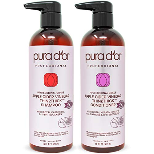 PURA DOR Apple Cider Vinegar Thin2Thick Set Shampoo & Conditioner (2 x 16oz) Biotin, Keratin, Caffeine, Castor Oil, Sulfate Free, Natural Ingredients, All Hair Types, Men & Women (Packaging may vary)