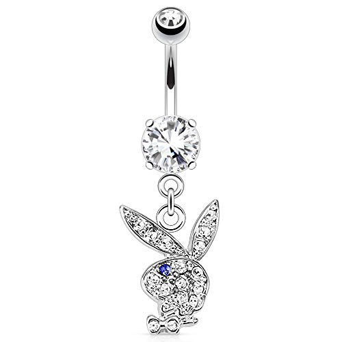 Dynamique Multi Paved Gems On Playboy Bunny Dangle Navel Ring ()