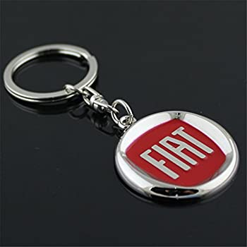 Amazon Com Fiat Leather And Enamel Key Ring Key Fob
