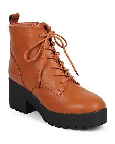 Women Leatherette Lug Sole Chunky Heel Lace Up