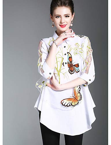 YFLTZ White Patchwork donna Basic Camicia Butterfly Animal da wnzaw0qrR