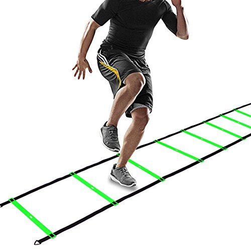 CampFENSE Speed Agility Ladder (Portable) Running Training Hurdles Athletic Football Soccer Basketball Footwork Fitness Exercise with Carry Bag & Training Guide (Green-6m-12rungs)