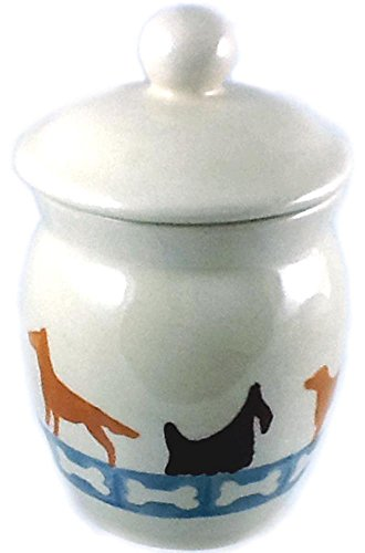 - Polish Pottery 3/4 Cup Small Dog Treat Jar Dog Walk