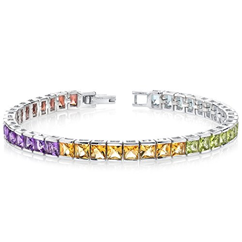 15.00 Carats Princess Cut Rainbow Color Tennis Bracelet Sterling Silver by Peora