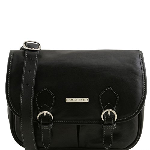 Tuscany Leather Giulia Leather shoulder bag with flap Black by Tuscany Leather
