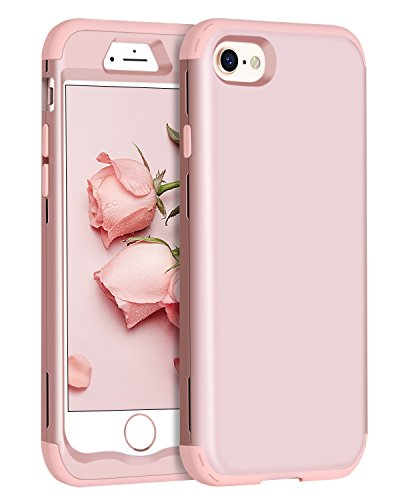 iPhone 8 Case, iPhone 7 Case, BENTOBEN Heavy Duty 3 in 1 Slim Hybrid Shockproof Hard PC Cover Soft Silicone Rubber Bumper Full Body Anti Slip Protective Phone Cases for Girls iPhone 8/7 Rose Gold