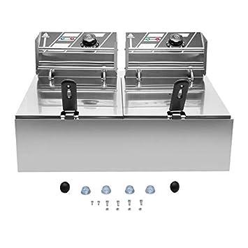 Newgreenca - Freidora eléctrica de acero inoxidable con tapa, 2 x 10 litros: Amazon.es: Hogar