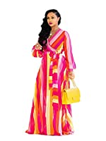 Womens Maxi Dress Boho Chiffon Floral Printed Long Dresses V-Neck Plus Size (FBA)