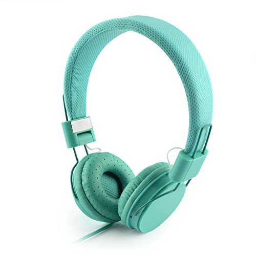 LinkIdea Women's On-Ear Headphones with Mic, Lightweight Foldable Headphone with Microphone, Sized to fit Women and Girls (Mint Green)