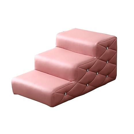 XUEYAN Taburete Rosa para niños para Camas Altas y sofás, Escalera Impermeable para Mascotas para