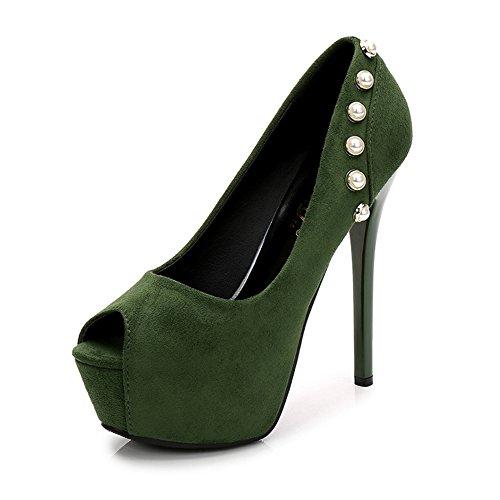 Zapatos de mujer Boca de pescado Ultra alta con fina con tabla impermeable Gamuza de moda zapatos de mujer con altura 12cm / 14cm opcional GAOLIXIA Green12cm