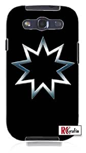diy phone caseCool Painting Bahai Egyptian Religious 9 Point Star Symbol Blue Smokey Chrome Unique Quality Soft Rubber Case for Samsung Galaxy S4 I9500 - White Casediy phone case