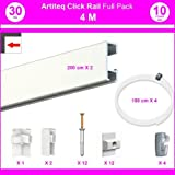 Pack Eco 4 m : cimaise Click Rail - blanc laqué (RAL9010) - 8,5 mm