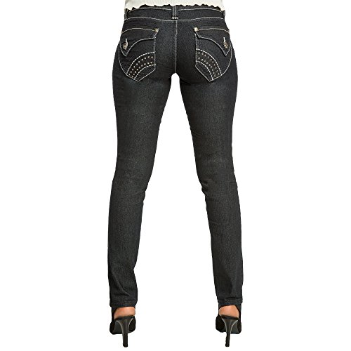 Back Jean Pocket Stud (Sweet Vibes Womens Dark Blue Stretch Denim Skinny Jean Decorated Back Pockets Size 3)