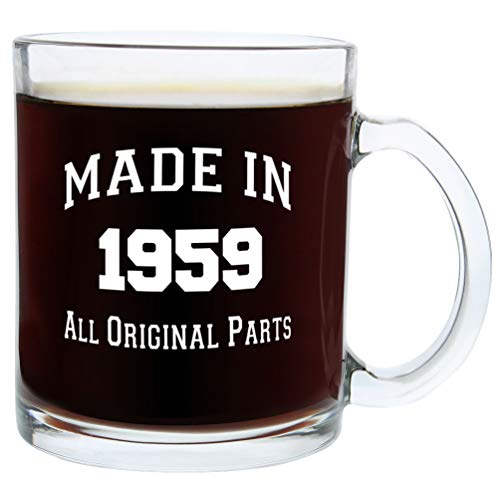 60th Birthday Gifts for Men or Women Made 1959 60th Birthday Party Supplies Gift Glass Coffee Mug Tea Cup White for $<!--$14.99-->