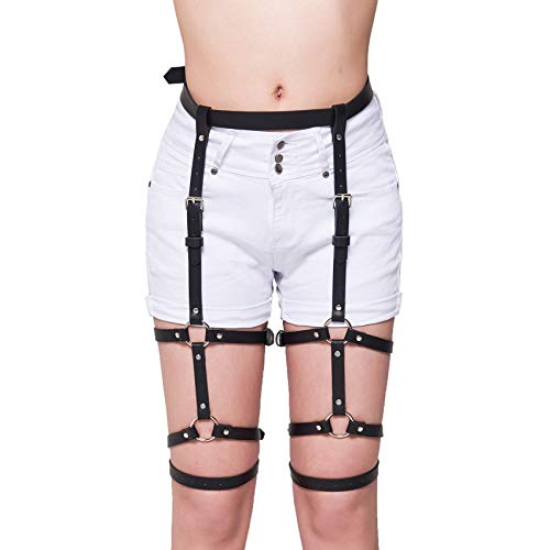 af07efa8150 Homelix Sexy Punk Leather Waist Anti-Slip Clips Harness Gothic Garter Belt  For Women