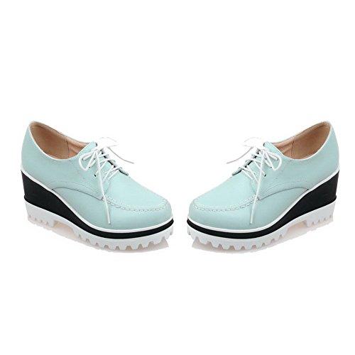VogueZone009 Damen Weiches Material Rund Zehe Hoher Absatz Schnüren Rein Pumps Schuhe Blau