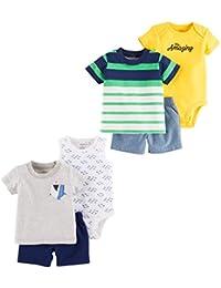 Baby Boys' 6-Piece Bodysuit Tee and Short Set,