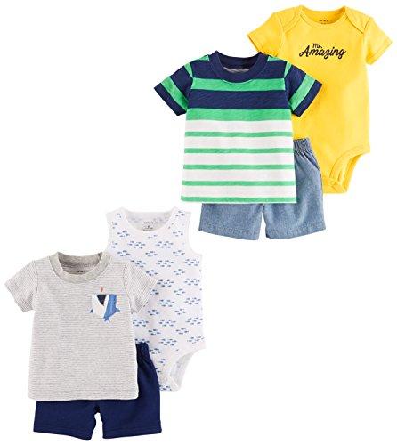 Carter's Baby Boys' 6-Piece Bodysuit Tee and Short Set, Grey Shark/Green Navy Stripe, 12 Months