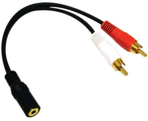 2 RCA Male and 3.5mm Stereo Female, 6 Inch Gold Plated Connector, Y-Cable CNE63102 2 Rca Male Connectors