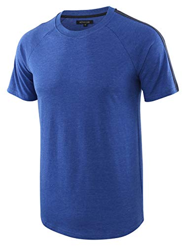 HETHCODE Men's Classic Vintage Retro Active Short Sleeve Crew Jersey Tee Shirt H.Blue/Navy S
