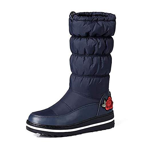 Mujer Para Calentamiento Fuweiencore Nieve De Botas Acogedor Bordado Tamaño color Azul Azul Calzado A 43 Negro Agua Algodón Prueba Invierno 43 1qxqXtIrw4