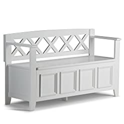 Entryway SIMPLIHOME Amherst SOLID WOOD 48 inch Wide Entryway Storage Bench with Safety Hinge, Multifunctional Transitional…