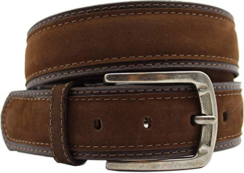 Suede Brown Mens Leather (Mens belt for jeans leather: Brown Suede, Wide - 1.50'', Medium, Classic, Fashionable, Cool Man by XeeBest)