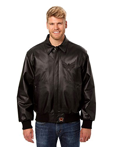 Washington Capitals Men's Black on Black Leather Bomber Jacket with Hand Crafted Leather Team Logos (5X) (Guides Secret Cast Net compare prices)