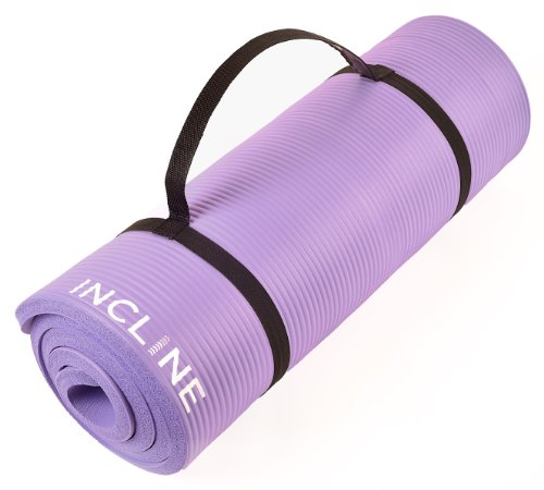 Incline Fit Extra Thick and Long Comfort Foam Yoga/Exercise Mat with Carrying Strap, Orchid