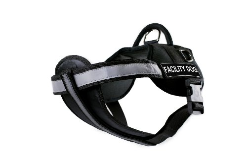 DT Works Harness with Padded Reflective Chest Straps, Facility Dog, Black, Medium, Fits Girth Size: 28-Inch to 38-Inch by Dean & Tyler