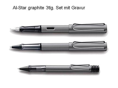 Lamy Set Al-star graphite 3tlg Füller Tintenroller Kugelschreiber mit Gravur Aluminium