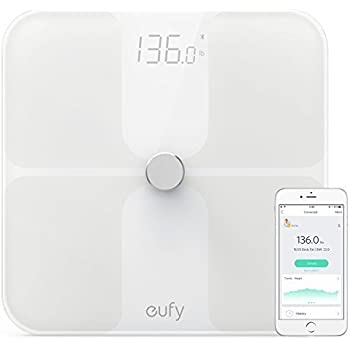 Eufy BodySense Smart Scale with Bluetooth, Large LED Display, Weight/Body Fat/BMI/Fitness Body Composition Analysis, Auto On/Off, Auto Zeroing, Tempered Glass Surface, White, lbs/kg/st Units