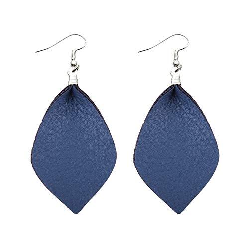 Silver Leather Leaf Earrings for Women Trendy Red Earring Leather Earrings ()