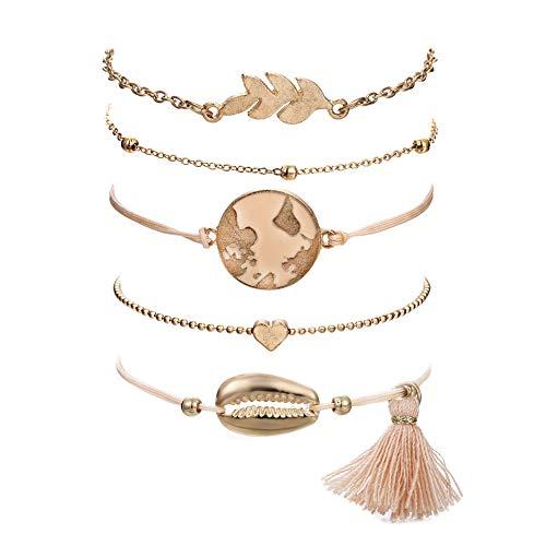 VONRU Beaded Bracelets for Women - Adjustable Charm Pendent Stack Bracelets for Women Girl Friendship Gift Rose Quartz Bracelet Links with Pearl Gold Plated (Shell & Tassel)
