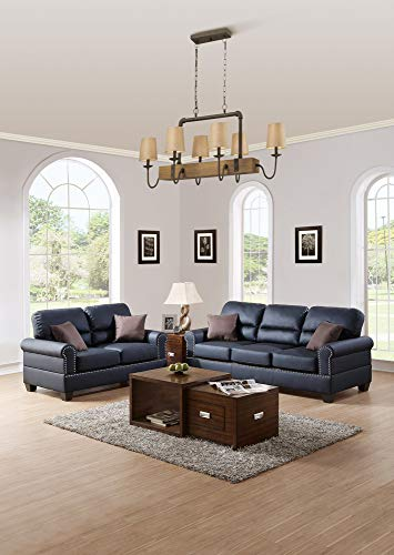 - Benzara BM168791 Bonded Leather with Loveseat and Cushions, Black