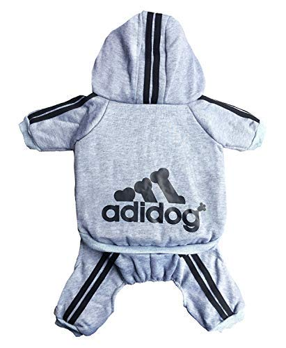 Rdc Pet Adidog Dog Hoodies, Clothes,Fleece Basic Hoodie Warm Sweater,4 Legs Cotton Jacket Sweat Shirt Coat for Small Dog Medium Dog Cat (M, Grey)