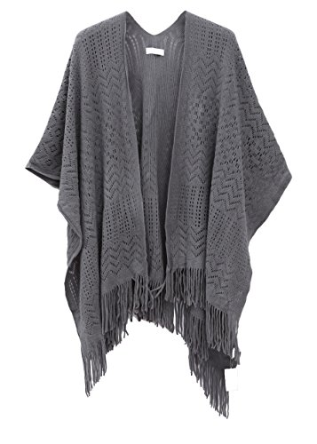 Knit Shawl Wrap for Women - Soul Young Ladies Fringe Knitted Poncho Blanket Cardigan Cape(One Size,Grey)
