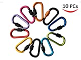 Bonaweite 10 PCS 3.15''/8cm Carabeaner Assorted Colors D Shape Spring-Loaded Gate Aluminum Carabiner for Home, Rv, Camping, Fishing, Hiking, Traveling and Keychain