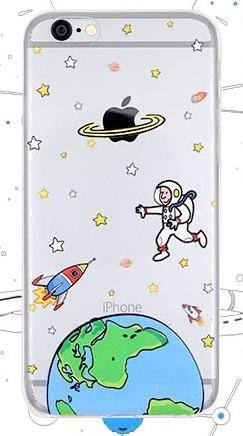 iPhone 6 / 6S Case, Deco Fairy Ultra Slim Rubber Silicone TPU Back Cover for Apple - Cartoon Space (Banana Silicone Iphone 5s Case)
