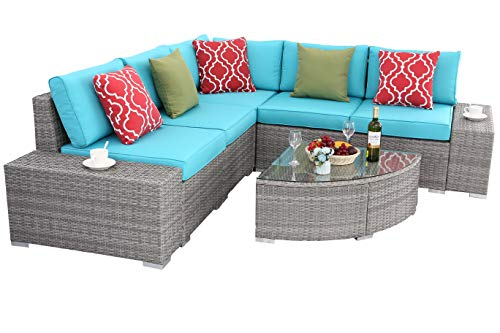 Do4U 6 PCs Outdoor Patio PE Rattan Wicker Sofa Sectional Furniture Set Conversation Set- Thick Seat Cushions & Glass Coffee Table| Patio, Backyard, Pool| Steel Frame (Turquoise) -  - patio-furniture, patio, conversation-sets - 41cdIJzpkqL -