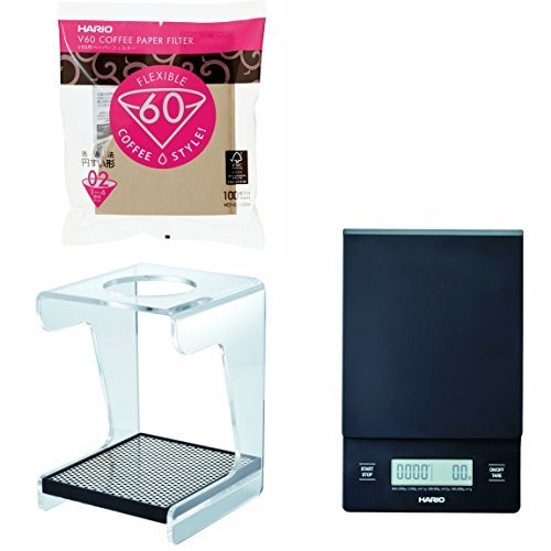 Hario V60 Set - Scale, Stand & 100 Paper Filters - All 3 Together