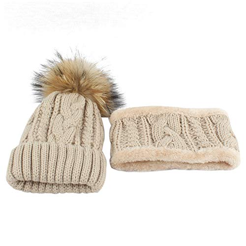 Inkach Baby Knitted Hats with Scarf | Kids Winter Keep Warm Cap Hairball - Crochet Beanie Hat (Beige) ()