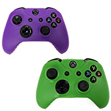 HDE 2 Pack Protective Silicone Gel Rubber Grip Skin Cover for Xbox One Wireless Gaming Controllers (Green + Purple)