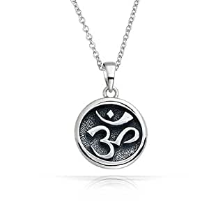 Bling Jewelry 925 Sterling Silver Round Medallion Om Aum Pendant Necklace 18in