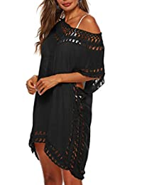 Adisputent Swimsuit Cover Ups para damaes Mesh Beach Cover Ups Crochet Chiffon Tassel Bathing Suit Bikini Wear Coverups Dress