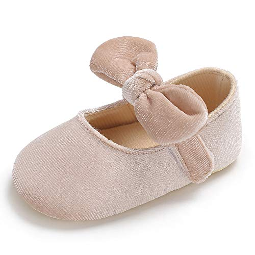 Tutoo Baby Girls Mary Jane Flats Princess Dress Bowknot Soft Sole Cloth Newborn Crib Shoes Intant First Walkers Shoes (3-6 Months M US Infant, E01-beige) ()