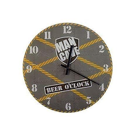 Man Cave Beer o Reloj Amarillo Verde Gris Blanco Redondo Reloj de Pared de Cristal