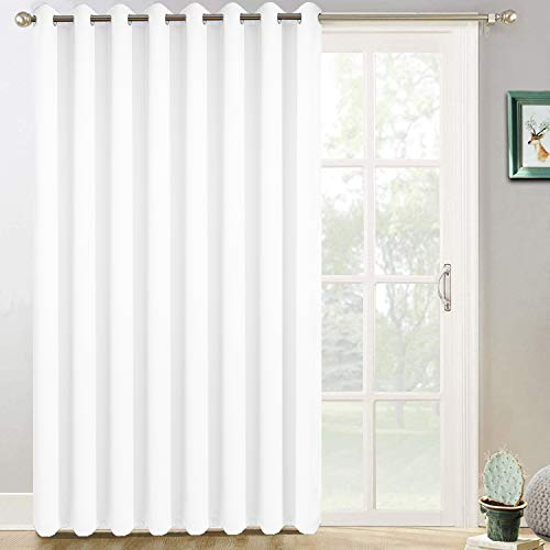 Yakamok Wide Thermal Blackout Patio Door Curtain Panel, Sliding Door Insulated Curtains,Vertical Blinds with Grommets,Outside Curtain for Patio & Hall Room(Pure White, 100 by 96 Inches,1 Panel)